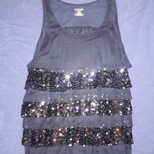 Sheer sequined tank